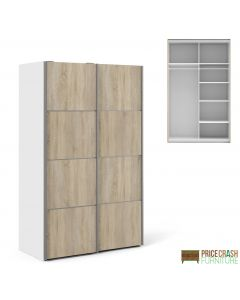 Verona Sliding Wardrobe 120cm in White with Oak Doors with 5 Shelves at Price Crash Furniture. Other sizes and colours available