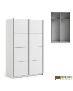 Verona Sliding Wardrobe 120cm in White with White Doors with 2 Shelves at Price Crash Furniture. Other sizes & colours also available
