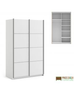 Verona Sliding Wardrobe 120cm in White with White Doors with 5 Shelves at Price Crash Furniture. Other sizes and colours also available