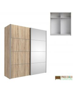 Verona Sliding Wardrobe 180cm in Oak with Oak and Mirror Doors with 2 Shelves at Price Crash Furniture. Other sizes and colours also available