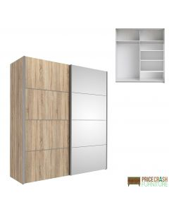 Verona Sliding Wardrobe 180cm in Oak with Oak and Mirror Doors with 5 Shelves at Price Crash Furniture. Other sizes and colours also available