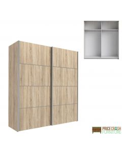 Verona Sliding Wardrobe 180cm in Oak with Oak Doors with 2 Shelves at Price Crash Furniture. Other sizes & colours also available
