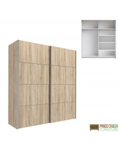 Verona Sliding Wardrobe 180cm in Oak with Oak Doors with 5 Shelves at Price Crash Furniture. Other sizes and colours also available