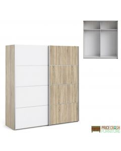 Verona Sliding Wardrobe 180cm in Oak with White and Oak doors with 2 Shelves at Price Crash Furniture. Other sizes and colours also available