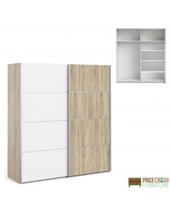 Verona Sliding Wardrobe 180cm in Oak with White and Oak doors with 5 Shelves at Price Crash Furniture. Other sizes and colours also available