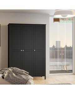 Steens Tromso Tromsö 3 Door Wardrobe in Black at Price Crash Furniture. Matching items available. Also in grey or white