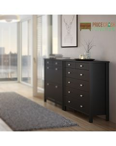 Steens Tromso 2+4 Drawer Chest of Drawers in Black at Price Crash Furniture. Matching items available. Also in Grey or White
