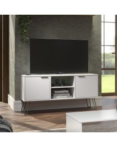 Core Products Augusta 2 Door Flat Screen TV Unit in White at Price Crash Furniture. Also in Grey, Driftwood or Pine. Matching items available