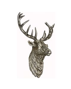 Wall Mounted Stags Head Antiqued Silver Wall Art - Home Accessory. Matching items & free delivery at Price Crash Furniture