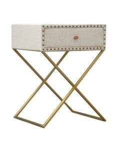 Studded linen bedside table with gold crisscrossed legs at Price Crash Furniture