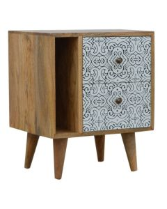 Artea Porcelain Pattern Mini Cabinet side table bedside at Price Crash Furniture