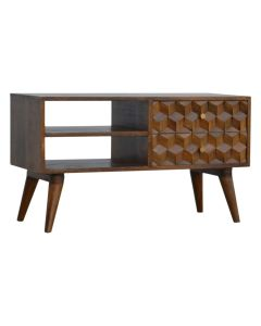 Chestnut Cube Carved Media Unit TV Stand at Price Crash Furniture