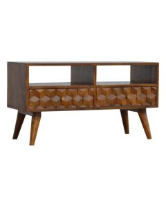 Chestnut Cube Carved Retro Style TV Unit at Price Crash Furniture
