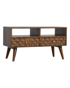 Chestnut Diamond Carved Retro Style side-by-side TV Unit at Price Crash Furniture