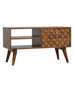 Retro inspired Chestnut Diamond Carved Media Unit TV stand at Price Crash Furniture