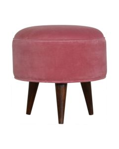 Velvet Nordic Style Footstool in Pink at Price Crash Furniture