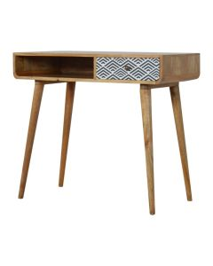 Monochrome Print Writing & Laptop Desk in oak-effect Solid Mango Wood at Price Crash Furniture