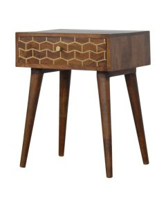Gold Art Pattern Bedside Table with 1 Drawer at Price Crash Furniture. Matching items available.