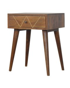 Geometric Brass Inlay 1 Drawer Bedside Table in Solid Mango Wood at Price Crash Furniture