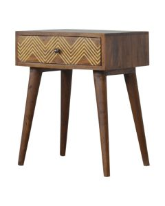 Brass Inlay 1 Drawer Chevron Bedside Table at Price Crash Furniture. Matching items and free delivery also available.