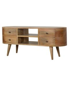 London Rounded Media Unit in Solid Mango Wood at Price Crash Furniture