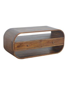 Curved Edge Media Unit with 2 Drawers in chestnut-effect Solid Mango Wood at Price Crash Furniture