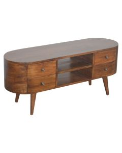 Rounded Media Unit with 4 Drawers in chestnut-effect Solid Mango Wood at Price Crash Furniture