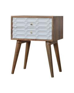 Capsule Carved Bedside Table in White and Oak-effect Solid Mango Wood at Price Crash Furniture. Matching items available.
