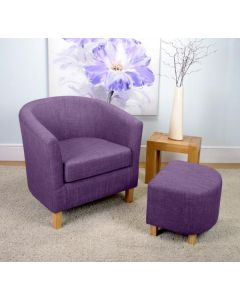 Linen Effect Plum Tub Chair Set