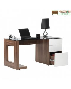 Alphason Sorbonne Executive Computer Desk in Walnut and White at Price Crash Furniture