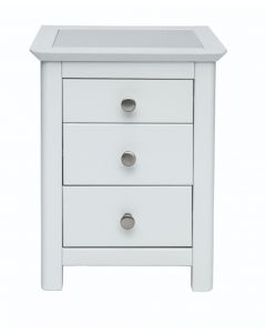 Core Products Stirling White Handcrafted 3 Drawer Bedside Cabinet