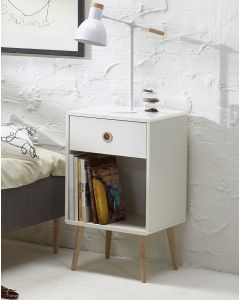 Steens Soft Line Retro Style 1 Drawer Bedside Table Unit in White