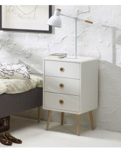 Steens Soft Line Retro Style 3 Drawer Bedside Table Unit in White
