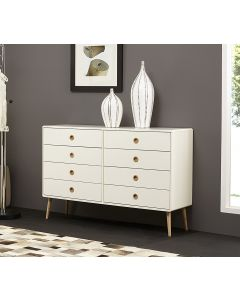 Steens Soft Line Retro Style Extra Large Wide 4+4 8 Drawer Chest Of Drawers In White