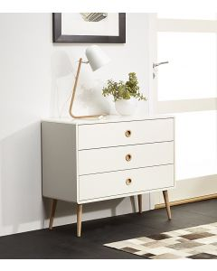 Steens Soft Line Retro Style Wide 3 Drawer Chest Of Drawers In White