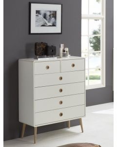 Steens Soft Line Retro Style 2+4 6 Drawer Chest Of Drawers In White