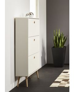 Steens Soft Line Retro Style Shoe Cabinet In White & Oak