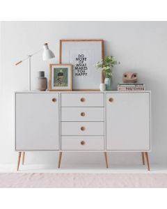 Steens Soft Line Retro Style White 2 Door 4 Drawer Cupboard Sideboard.