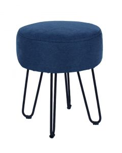 Round Stool Blue Fabric With Metal Legs