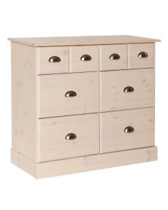 Terra 4+2 6 Deep Drawer Chest Of Drawers in Pine & White