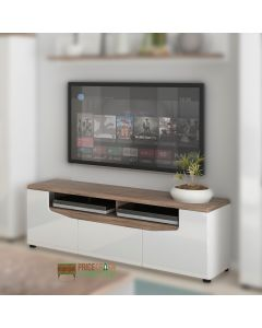 "Toledo 2 Door 1 Drawer TV Unit In Gloss White & Oak Up To 60"" TVs"