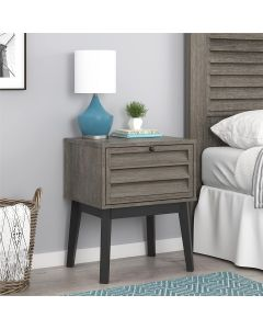 Vaughn Bedside Cabinet Side Table in Grey Oak by Dorel at Price Crash Furniture. Matching items available