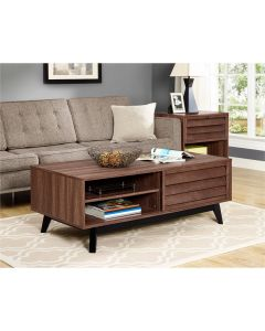 Vaughn Coffee Table with Sliding Doors in Walnut by Dorel