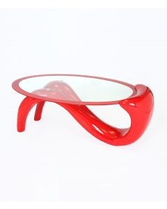 Venice Oval Clear Glass and Red Gloss Coffee Table
