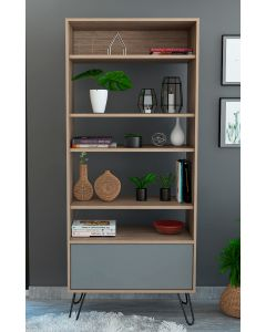Core Products Vegas Bleached Oak Effect Display Bookcase With Door