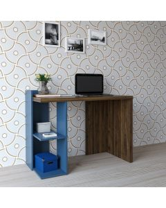 Xavier Computer Desk in Blue and Walnut by Dorel at Price Crash Furniture