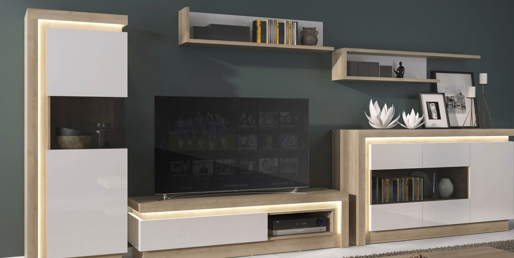 Lyon Oak and Gloss White Living Room Furniture Collection